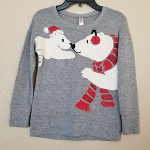 Justice Sweater Polar Bears Holiday Girls Size 7